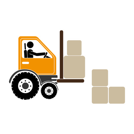 fork lifts trucks: forklift truck with pictogram driver and boxes vector illustration Illustration