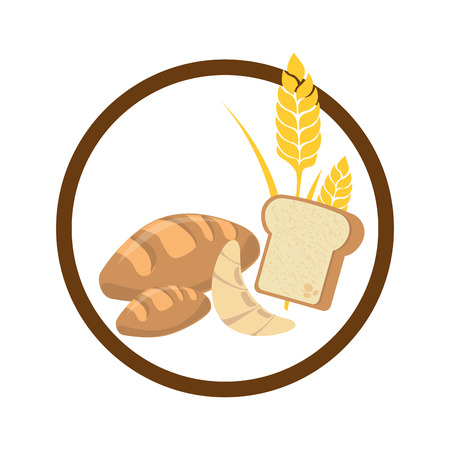 circular border with set breads with wheat vector illustration
