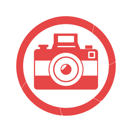 photography equipment: circular border with camera and flash icon vector illustration Illustration