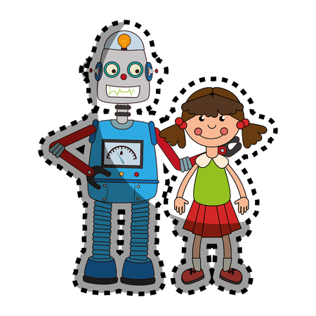 sticker colorful set collection robot with doll toy vector illustration