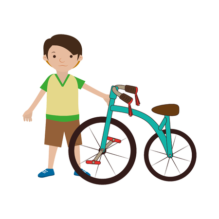 colorful set with boy and bicycle vector illustration