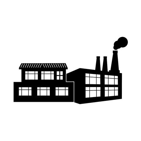 smokestack: silhouette factory smoke contamination icon vector illustration
