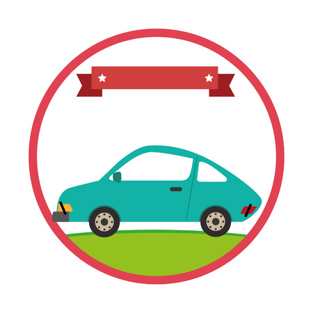 circular border with side view vehicle with label vector illustration Illustration