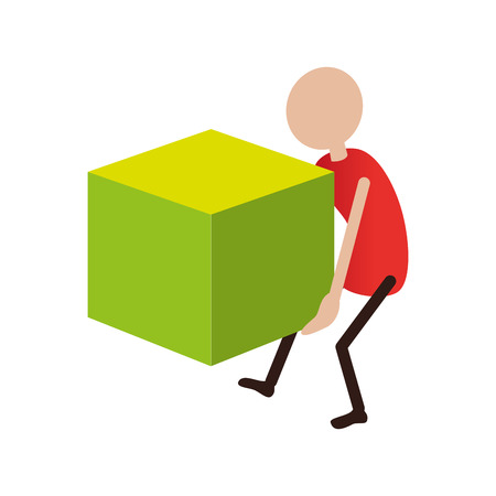 colorful pictogram men carrying a cube vector illustration Illustration