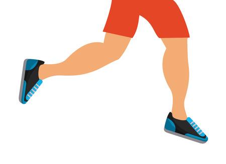 男性の足が白い背景の上を実行しています。健康的なライフ スタイルのコンセプト。カラフルなデザイン。ベクトル図
