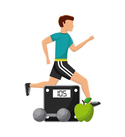 man running and weight scale, apple and dumbbell over white background. healthy lifestyle concept. colorful design. vector illustration
