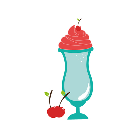 milk shake drink in glass cup with cherries vector illustration