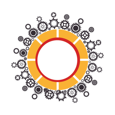 border mechanism with gear wheels set collection vector illustration
