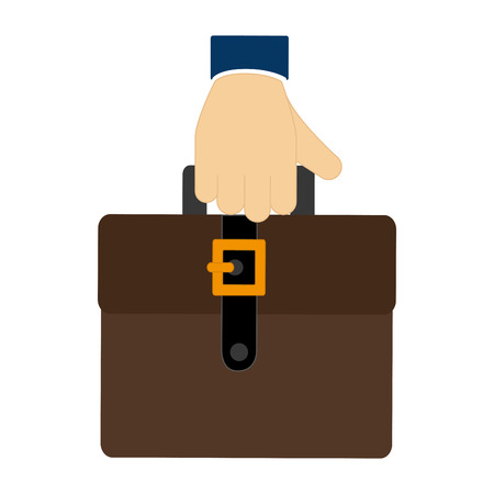 handgrip: colorful hand holding a executive suitcase icon vector illustration