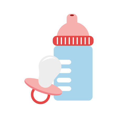 suckling: color silhouette with baby bottle and pacifier vector illustration