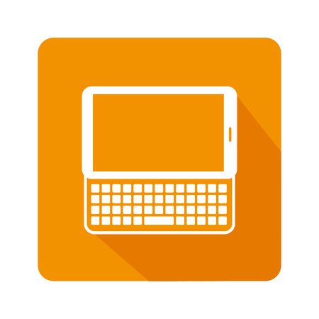 estimating: square frame with tablet with keyboard vector illustration