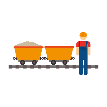 color silhouette with worker and wagon of mining over rail