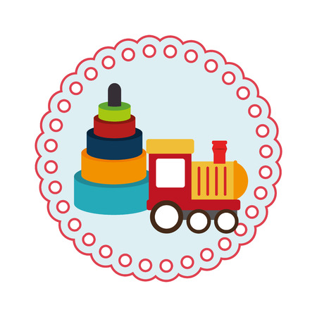 round shape with kids toys and train vector illustration