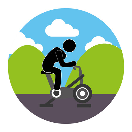 colorful circular landscape with man in spinning bike vector illustration