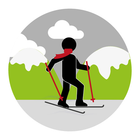 colorful circular landscape with skier vector illustration