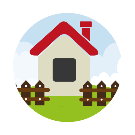 suburban: colorful circular landscape with house with fence vector illustration