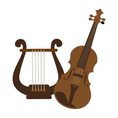 violoncello: Silhouette di colore con illustrazione vettoriale di violino e arpa