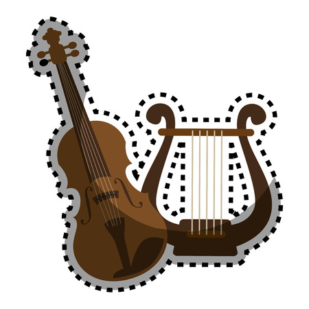 sticker color silhouette with violin and harp vector illustration