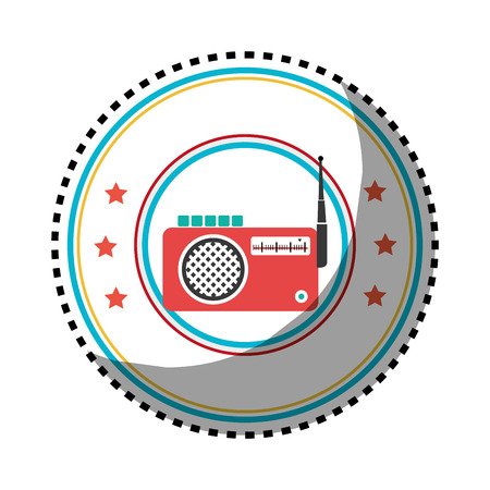 sticker color circular frame with radio stereo vector illustration Ilustrace