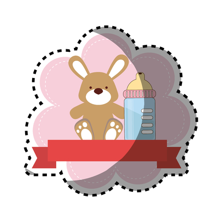 background sticker with ribbon and bunny toy with baby bottle