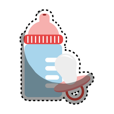 sticker color silhouette with baby bottle and pacifier vector illustration