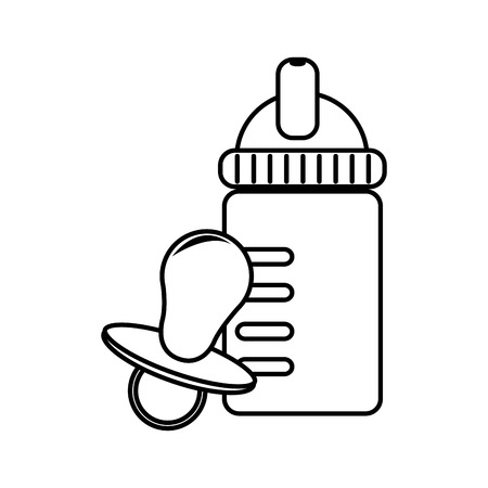 suckling: monochrome contour with baby bottle and pacifier vector illustration