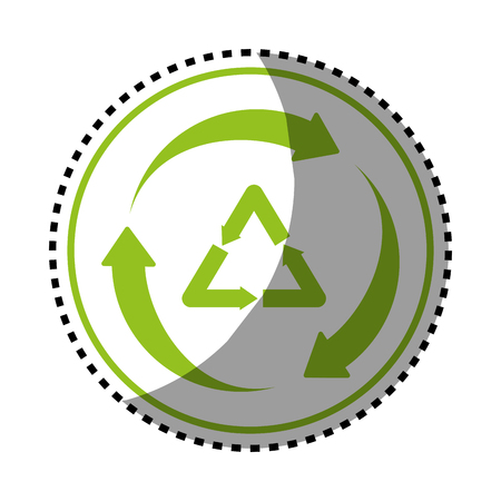 sticker green circular frame with recycle vector illustration