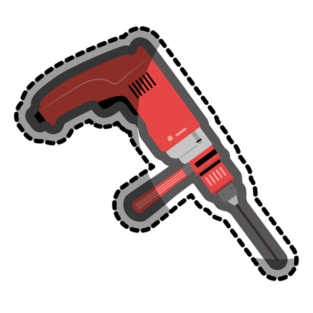 color sticker with drill tool vector illustration