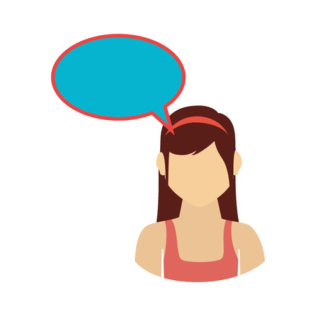 oval callout for dialogue with girl half body vector illustration Illustration