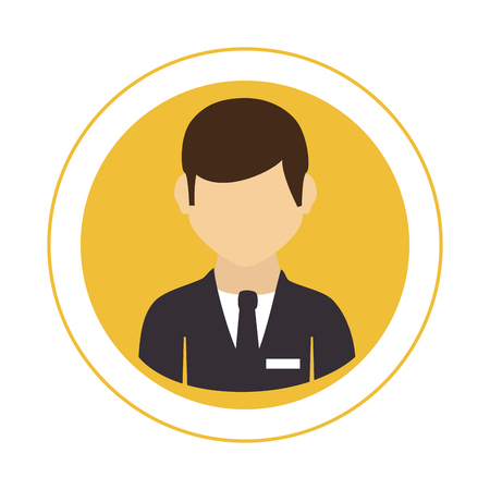 circular frame with half body man with formal suit with tie vector illustration