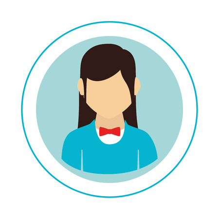 circular frame with half body woman with formal suit and bow tie vector illustration