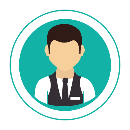circular frame with half body man with waistcoat and tie vector illustration Illustration