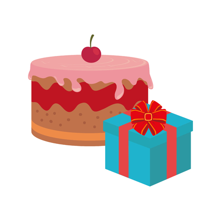 color background with cake and gift box vector illustration Illustration