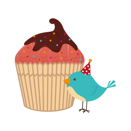 color silhouette with cupcake and bird vector illustration Illustration