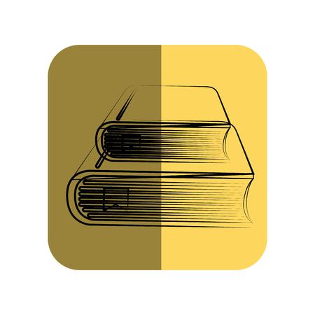 secondary: sketch of books in square frame vector illustration Illustration