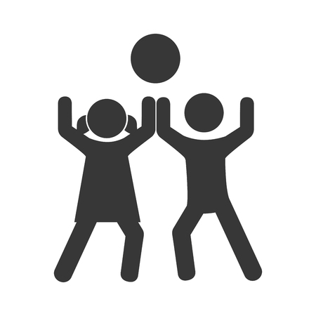 small group of objects: monochrome pictogram with kids play with a ball vector illustration