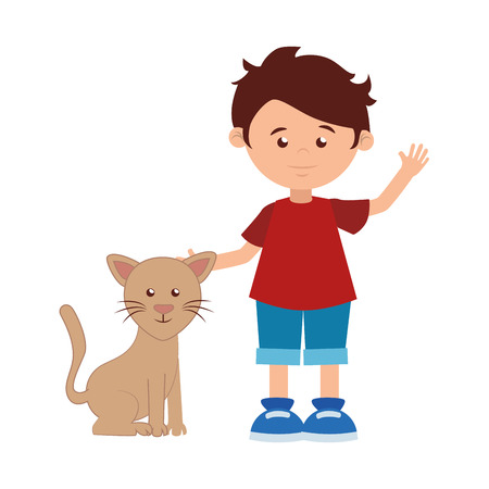 colorful silhouette with boy and cat vector illustration