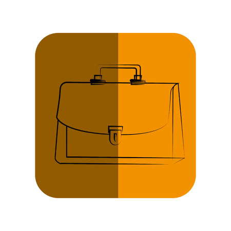 handgrip: sketch of executive suitcase in square frame vector illustration