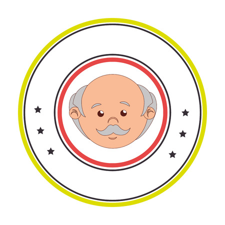 photo real: circular border with front face elderly man vector illustration
