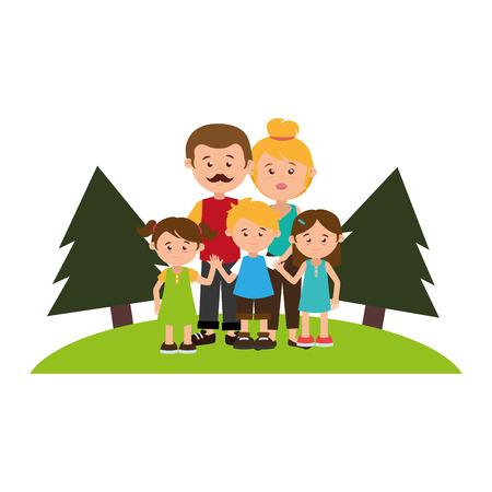 nucleus: colorful landscape with family nucleus vector illustration