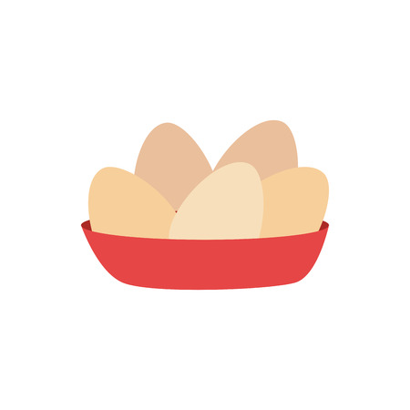 raw chicken: full color dish with eggs vector illustration Illustration