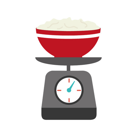 full color kitchen weight scale with bowl and mixture vector illustration Illustration