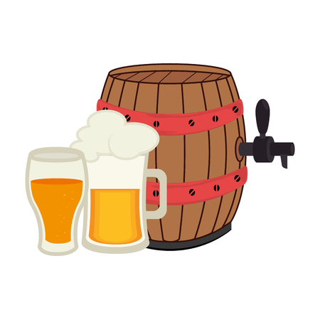 set collection foamy beer glass with barrel and glass cup vector illustration