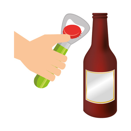 bottle opener utensil kitchen with beer bottle glass vector illustration