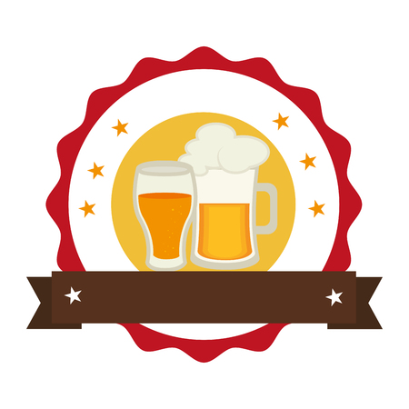tarro cerveza: circular stamp with foamy beer jar and glass cup vector illustration