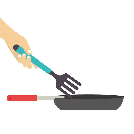saute: colorful set frying pan with fork vector illustration
