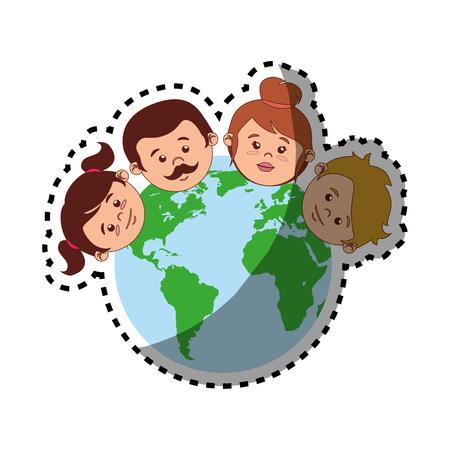 Sticker kleurrijke wereld met familie gezichten vector illustratie Vector Illustratie