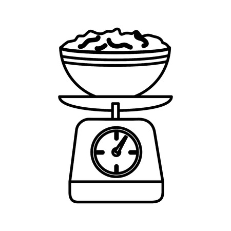 silhouette kitchen weight scale with bowl and mixture vector illustration Vektorové ilustrace