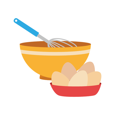 set of colorful dish with hand beayer and eggs vector illustration Иллюстрация
