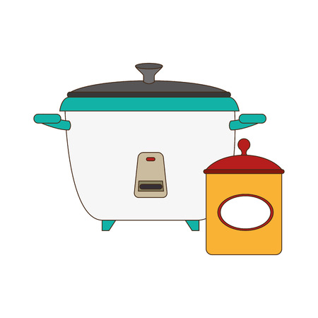 set of colorful rice cooker and salt container vector illustration